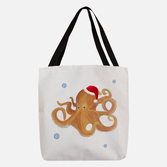 Christmas Octopus Polyester Tote Bag