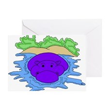 Water Hippo Greeting Card
