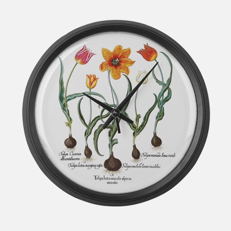 Vintage Tulips by Basilius Besler Large Wall Clock