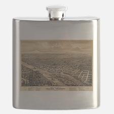 Vintage Pictorial Map of Salem Oregon (1876) Flask