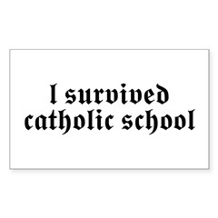 I Survived Catholic School Rectangle Decal