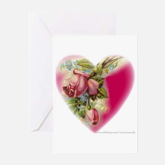 Victorian Flower Heart Greeting Cards (Package of
