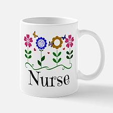 Nurse, pretty graphic flowers Mug