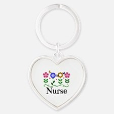 Nurse, pretty graphic flowers Heart Keychain