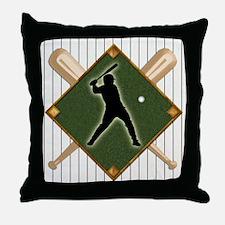 Baseball Pinstripe Logo Batter Throw Pillow