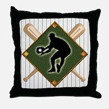 Baseball Pinstripe Logo Fielder 2 Throw Pillow