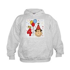 Monkey Face 4th Birthday Hoodie