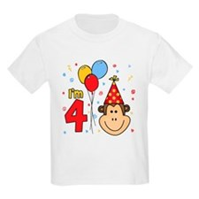 Monkey Face 4th Birthday T-Shirt