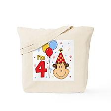 Monkey Face 4th Birthday Tote Bag