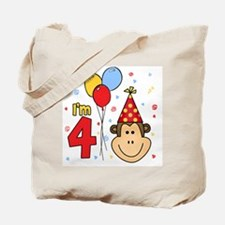 Monkey Face 4th Birthday Tote Bag