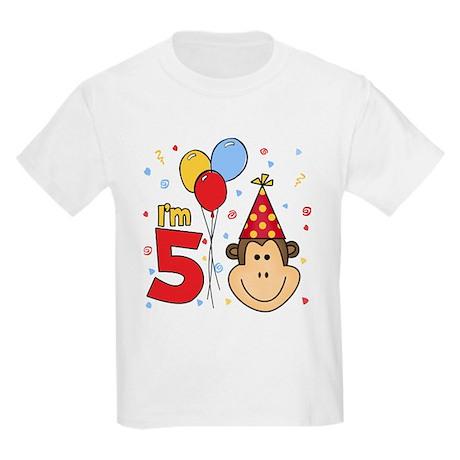 Monkey Face 5th Birthday Kids Light T-Shirt