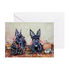 Autumn Scotties Greeting Card