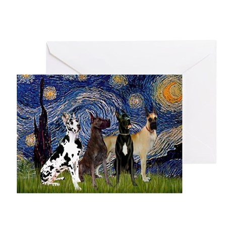 Starry Night & 4 Great Danes Greeting Cards (Pk of