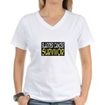 'Bladder Cancer Survivor' Women's V-Neck T-Shirt