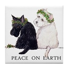 Scottish Terrier Westie Christmas Tile Coaster