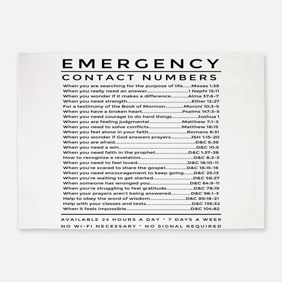 bible emergency number 5'x7'Area Rug