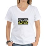 'Liver Cancer Survivor' Women's V-Neck T-Shirt