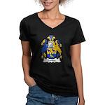 Barker Family Crest Women's V-Neck Dark T-Shirt