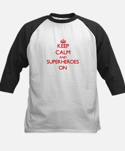 Keep Calm and Superheroes ON Baseball Jersey