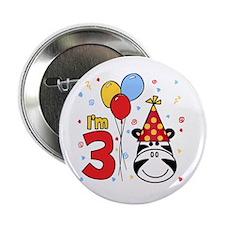 Zebra Face 3rd Birthday Button