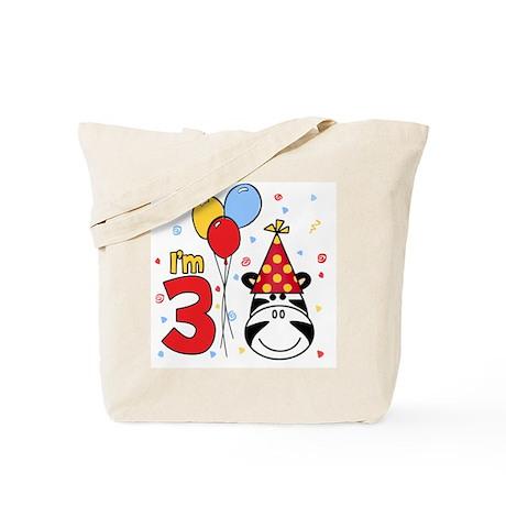 Zebra Face 3rd Birthday Tote Bag