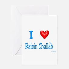 Jewish I Love Raisin Challah Greeting Card