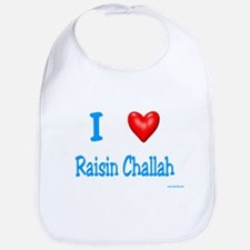 Jewish I Love Raisin Challah Bib
