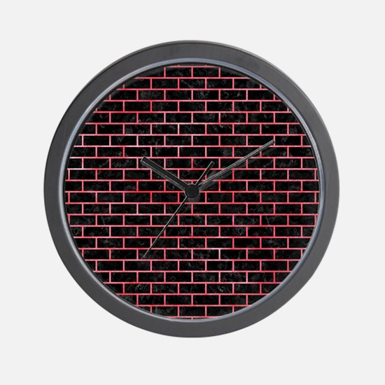 BRICK1 BLACK MARBLE & RED WATERCOLOR (R Wall Clock
