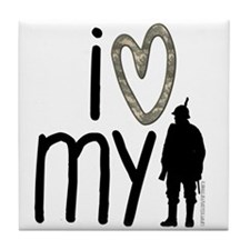 I Heart My Soldier Tile Coaster