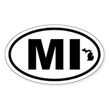 Michigan Map Oval Sticker