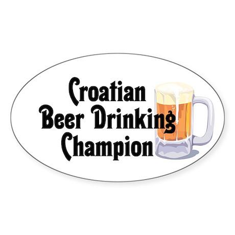 Croatian Beer Champ Oval Sticker