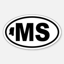 Mississippi Map Oval Decal