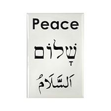 Peace - English, Hebrew, Arab Rectangle Magnet