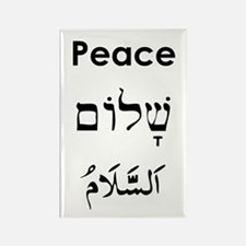 Peace - English, Hebrew, Arab Rectangle Magnet