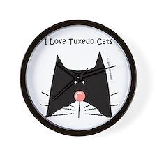 I Love Tuxedo Cats Wall Clock