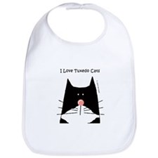 I Love Tuxedo Cats Bib