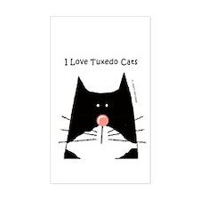 I Love Tuxedo Cats Rectangle Decal