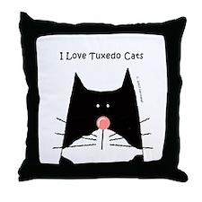 I Love Tuxedo Cats Throw Pillow
