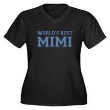 Worlds Best Mimi Women's Plus Size V-Neck Dark T-S