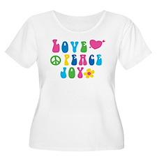 Retro Love, Peace and Joy Plus Size T-Shirt