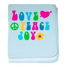 Retro Love, Peace and Joy baby blanket
