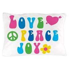 Retro Love, Peace and Joy Pillow Case
