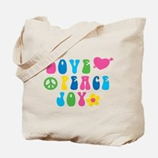 Retro Love, Peace and Joy Tote Bag