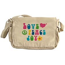 Retro Love, Peace and Joy Messenger Bag