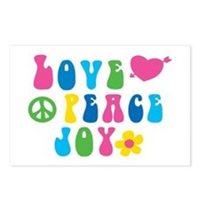 Retro Love, Peace and Joy Postcards (Package of 8)