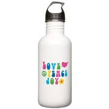 Retro Love, Peace and Sports Water Bottle