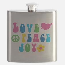 Retro Love, Peace and Joy Flask