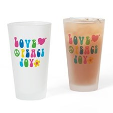 Retro Love, Peace and Joy Drinking Glass