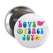 """Retro Love, Peace and Joy 2.25"""" Button"""