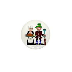 Thanksgiving Pilgrims Mini Button (100 pack)